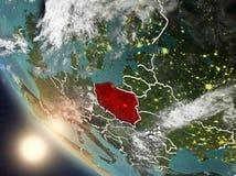 Coucher du soleil au-dessus de la Pologne de l'espace Photo stock