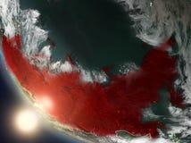 Coucher du soleil au-dessus de la Russie de l'espace Photo libre de droits