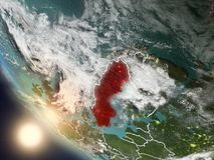 Coucher du soleil au-dessus de la Suède de l'espace Image libre de droits
