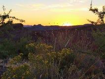 Coucher du soleil au-dessus de la vallée Photographie stock