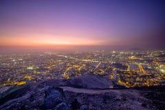 Coucher du soleil au-dessus de la ville de Lima Image libre de droits