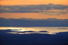 Coucher du soleil au-dessus de lac Champlain Images libres de droits