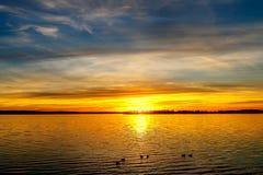 Coucher du soleil au-dessus de lac oklahoma Photographie stock libre de droits