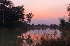 Coucher du soleil au-dessus de lagune Photos stock