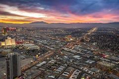 Coucher du soleil au-dessus de Las Vegas Image stock