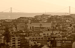 Coucher du soleil au-dessus de Lisbonne, Portugal Image libre de droits