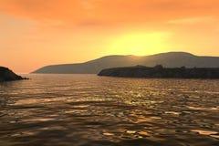 Coucher du soleil au-dessus de littoral illustration de vecteur
