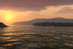 Coucher du soleil au-dessus de littoral illustration stock