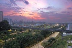 Coucher du soleil au-dessus de lotissement de Punggol Images libres de droits