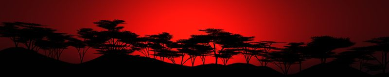 Coucher du soleil au-dessus de lumière savannay au-dessus de la forêt-steppe Image stock