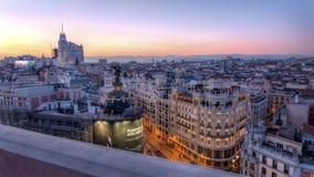 Coucher du soleil au-dessus de Madrid photographie stock