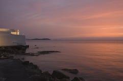Coucher du soleil au-dessus de mer Égée Image libre de droits
