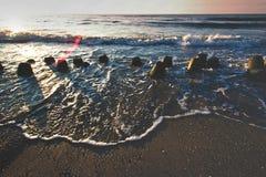 Coucher du soleil au-dessus de mer Photos libres de droits
