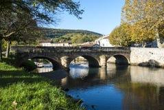 Coucher du soleil au-dessus de Minervois, l'Aude, Languedoc, France Image stock