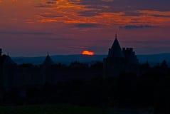 Coucher du soleil au-dessus de Minervois, l'Aude, Languedoc, France Images libres de droits