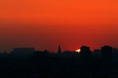 Coucher du soleil au-dessus de Moscou Images stock