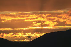Coucher du soleil au-dessus de Mt. Mansfield, VT, Etats-Unis images stock