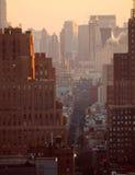 Coucher du soleil au-dessus de New York City photo libre de droits