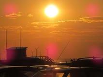Coucher du soleil au-dessus de newbrighton sur le wirral Photographie stock