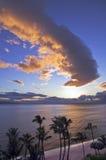 Coucher du soleil au-dessus de plage de Kaanapali dedans Photographie stock