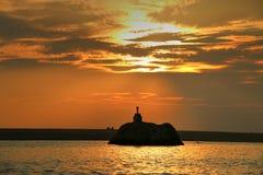 Coucher du soleil au-dessus de plage de Poovar Photo libre de droits