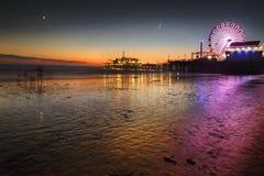 Coucher du soleil au-dessus de plage de Venise Images stock