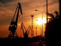 Coucher du soleil au-dessus de port Images libres de droits