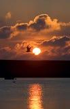 Coucher du soleil au-dessus de port de Portland dans Dorset images libres de droits