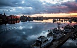 Coucher du soleil au-dessus de Portsmouth, NH Image libre de droits