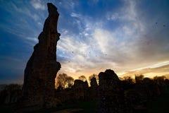 Coucher du soleil au-dessus de prieuré de Thetford avec des corneilles Images stock