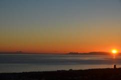 Coucher du soleil au-dessus de rocher de Gibraltar Image stock
