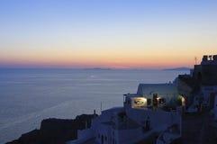 Coucher du soleil au-dessus de Santorini, Oia Image stock