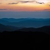 Coucher du soleil au-dessus de Stiavnica Images stock