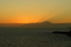 Coucher du soleil au-dessus de Ténérife Images libres de droits