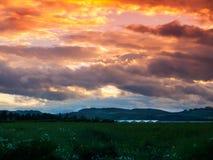 Coucher du soleil au-dessus de Tayside Image libre de droits