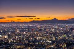 Coucher du soleil au-dessus de Tokyo Photographie stock