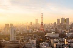 Coucher du soleil au-dessus de Tokyo Images libres de droits