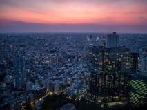 Coucher du soleil au-dessus de Tokyo, vue du  métropolitain de åº de ½ de ±äº¬éƒ de  de æ de bâtiment de gouvernement, Shinjuku Photo libre de droits
