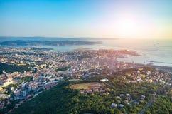 Coucher du soleil au-dessus de Trieste Images libres de droits