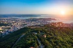 Coucher du soleil au-dessus de Trieste Image stock