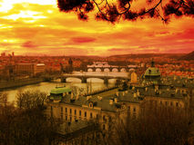 Coucher du soleil au-dessus de Vltava Image stock