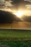 Coucher du soleil au-dessus de zone avec l'herbe verte Photo stock