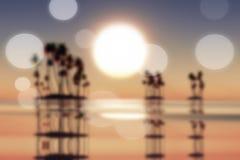Coucher du soleil au-dessus des îles de noix de coco brouillées illustration stock