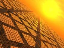 Coucher du soleil au-dessus des blocs de réseau Images stock