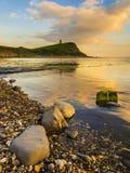 Coucher du soleil au-dessus des falaises chez Kimmeridge Image libre de droits