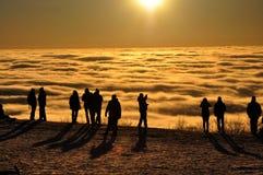 Coucher du soleil au-dessus des inversions Image libre de droits