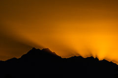 Coucher du soleil au-dessus des Jeux Olympiques Photo libre de droits