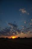 Coucher du soleil au-dessus des terres cultivables, Allemagne Images libres de droits