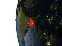 Coucher du soleil au-dessus du Bangladesh de l'espace Images stock