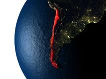 Coucher du soleil au-dessus du Chili de l'espace Photographie stock libre de droits